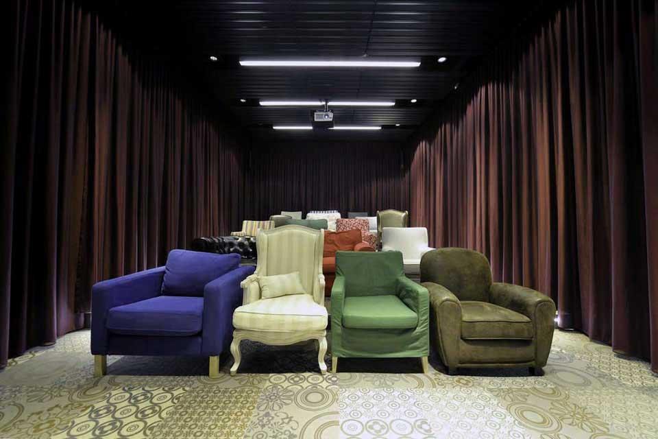 Mini Theatre Design with Colorful Sofa