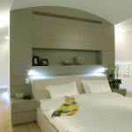 Minimalist Bedroom Residence with Lamp in Backrest