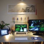 Minimalist Glass Workspace with Action Figure