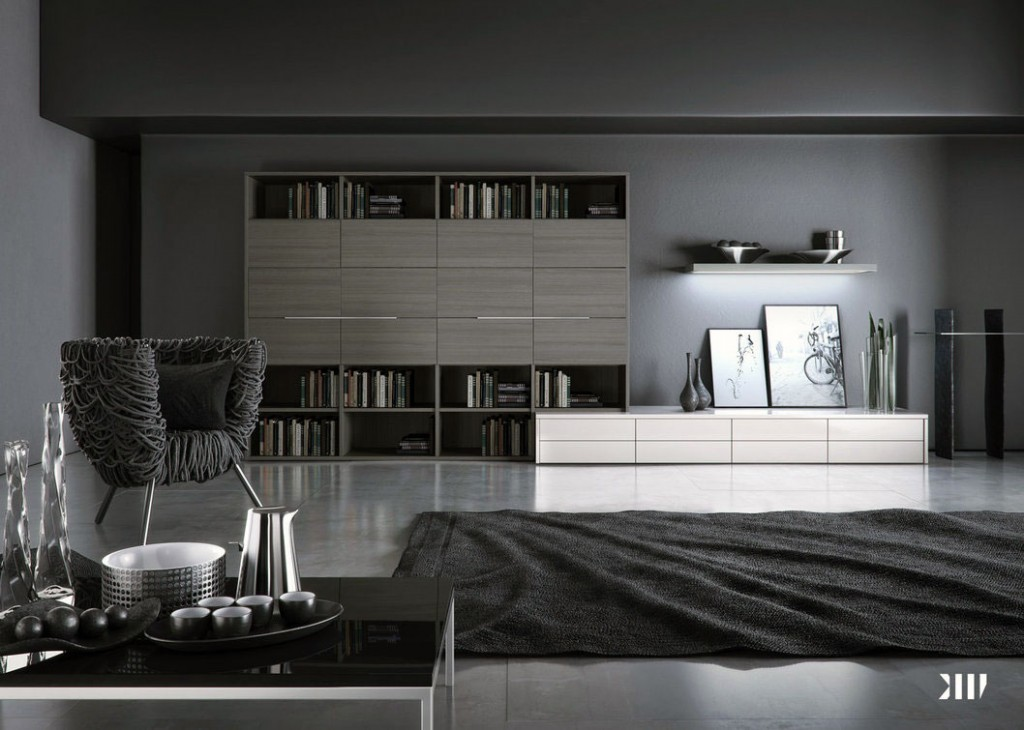 Minimalist Grey Monochrome Living Room Design