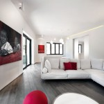 Minimalist Red & White Apartment Interior