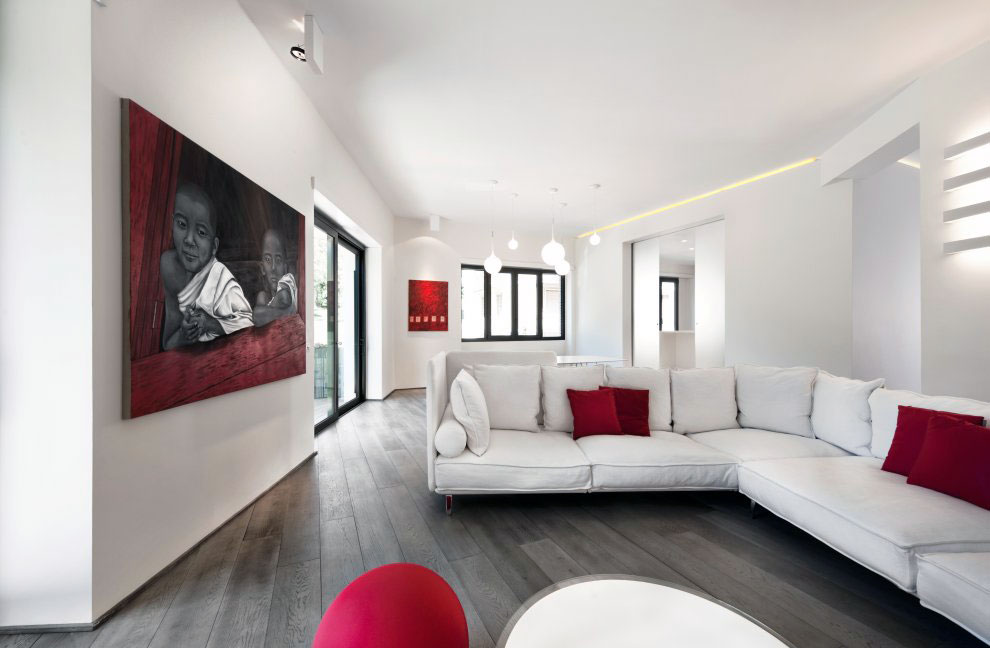 Minimalist Red White Living Room with Recessed Ceiling Light