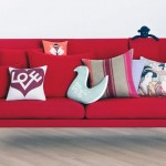 Minimalist Red sofa cushions Design with Japanese Pillow