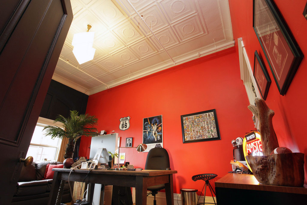 Modern Classic Office with Red Wall Ideas