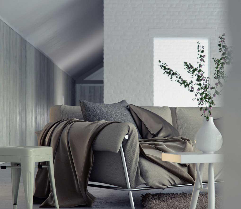 Modern Gray Sofa Living Space Design