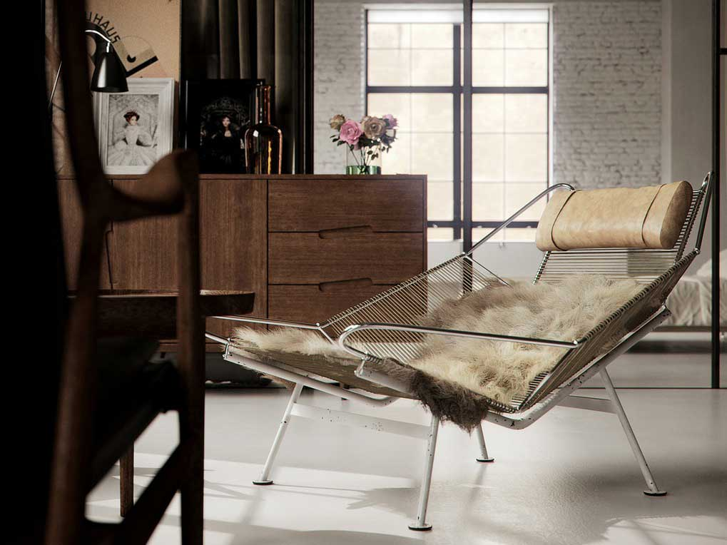 Modern Retro Fur Chair Living Room