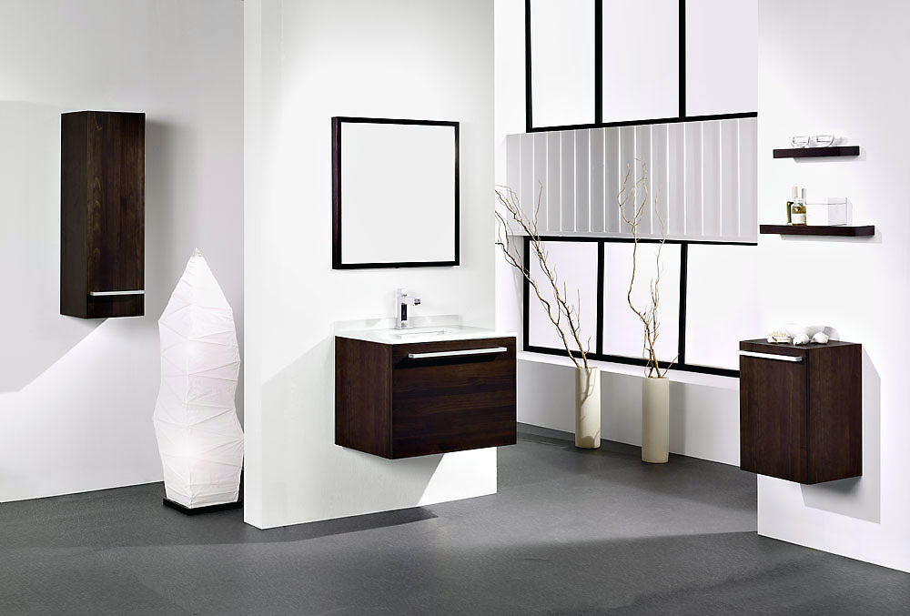 Modern White Bathroom With Wooden Washbasin Cabinet Ideas Interior Design Ideas
