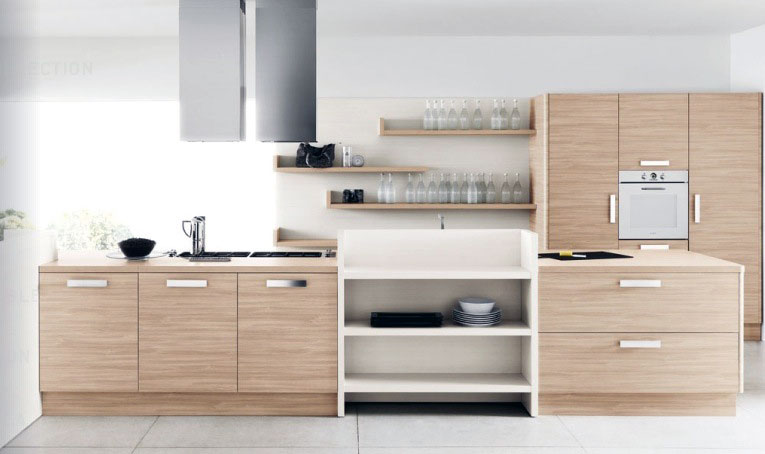 Modern White Oak Kitchen Furniture Set