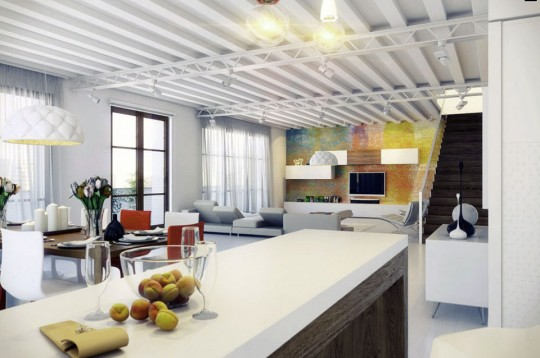 Modern Wood White Kitchen Island in Loft