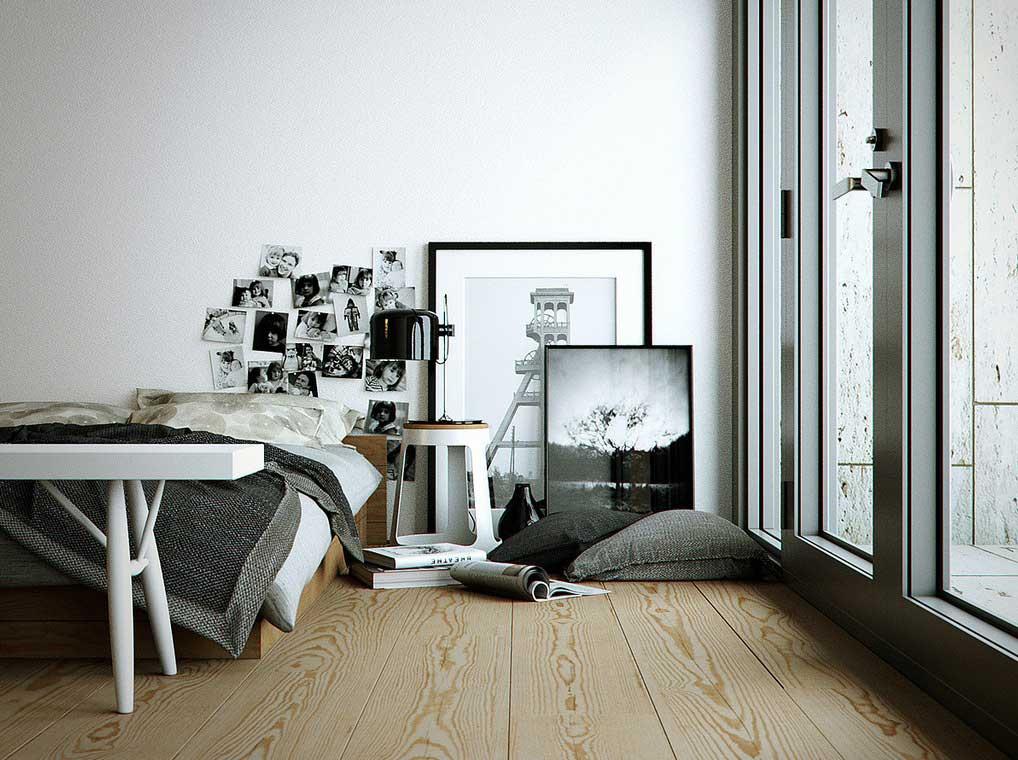 Monochrome Bedroom with Wooden Floor and Glass Door
