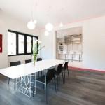 Red White Minimalist Kitchen Diner Accent Design Ideas