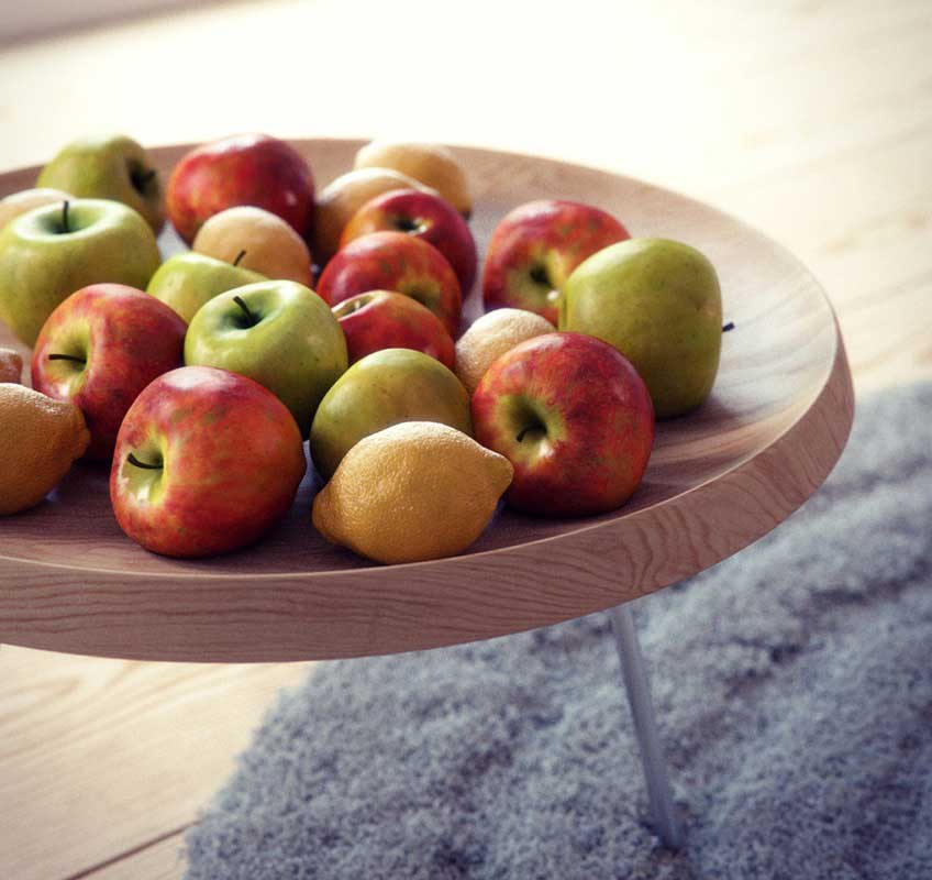 Round Fruit Bowl Wooden Table Design