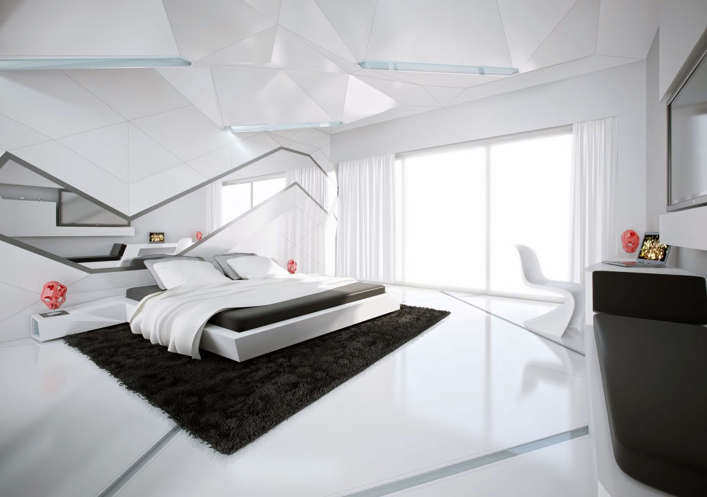 Shining Black and White Contemporary Bedroom