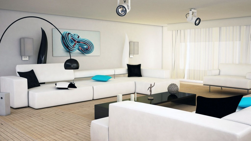 Sophisticated Black and white Living Room with Aqua Accents