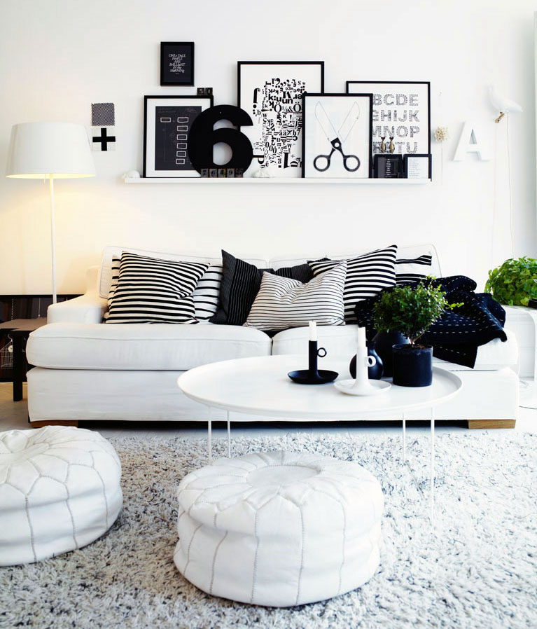 Black And White Living Room With Yellow Accents: Urban Living Room With White Black Color Ideas