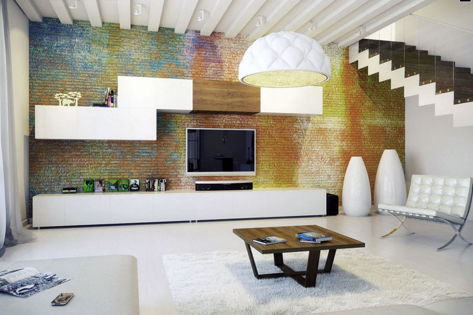 Urban Style Living Area with Colorful Exposed Brick Wall