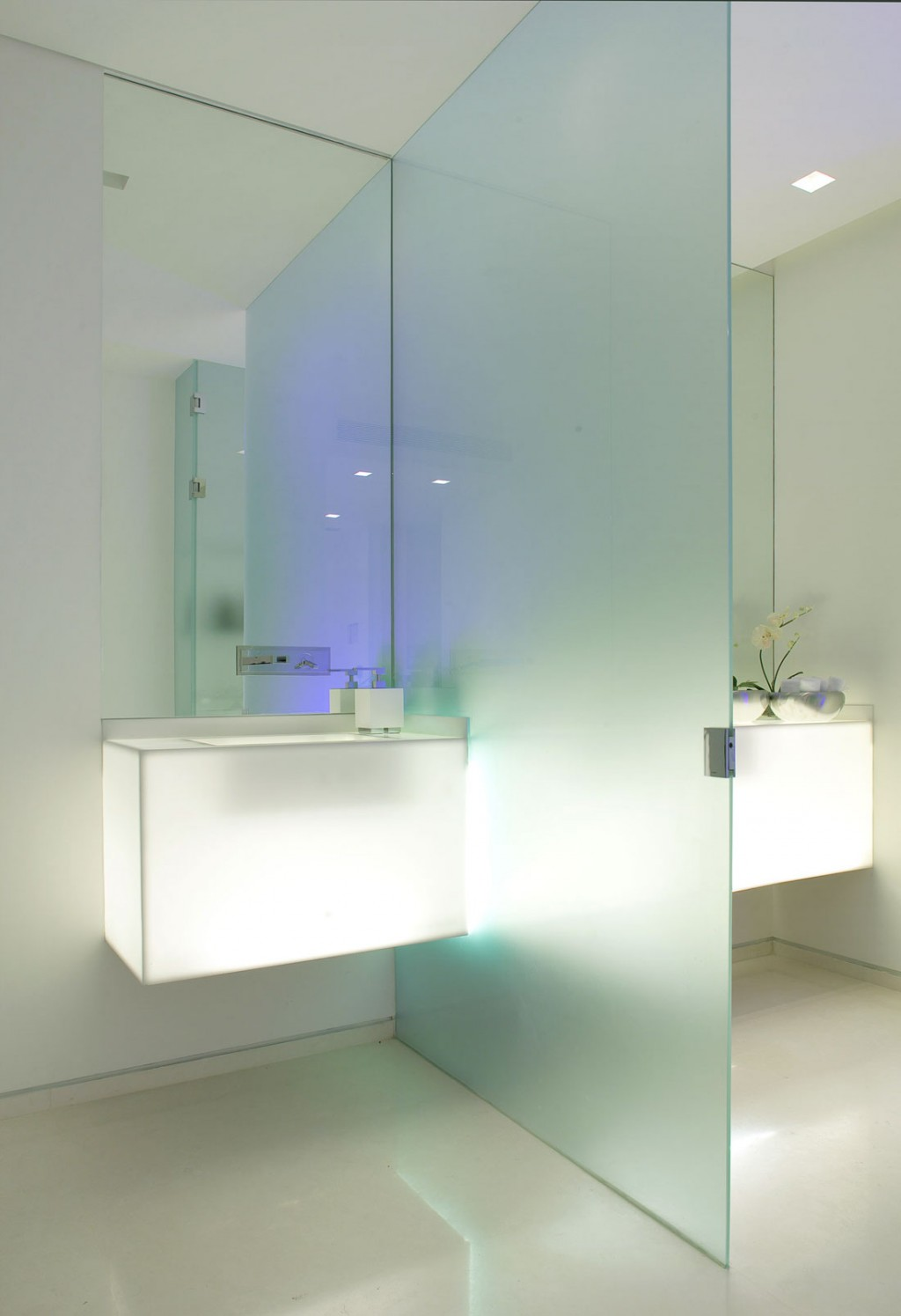 Wet Room With Modern Lighting And Glass Divider Interior