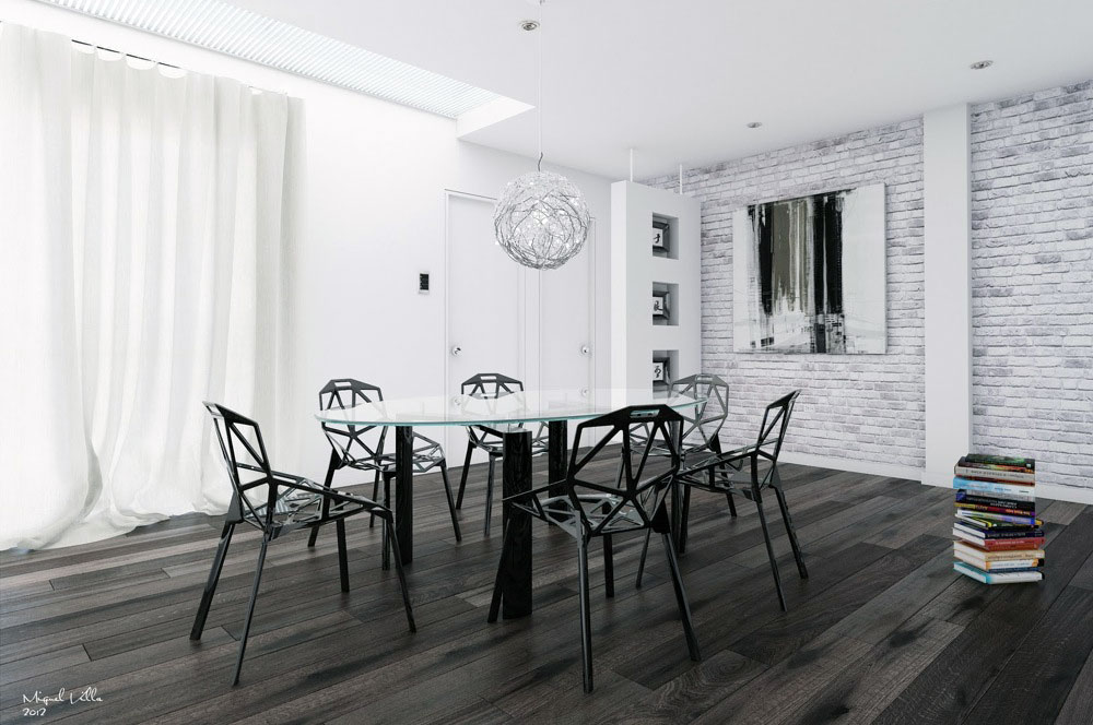 White Brick Wall Dinning Room with Black Furniture