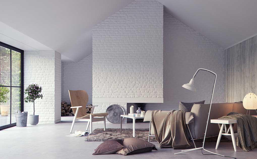 White brick wall interior living area interior design ideas for Living area interior