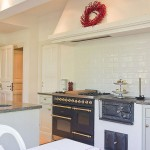 White Kitchen Design with Gold Panel Ideas