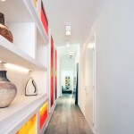 White Red Lightbox Gallery Hallway Apartment Design