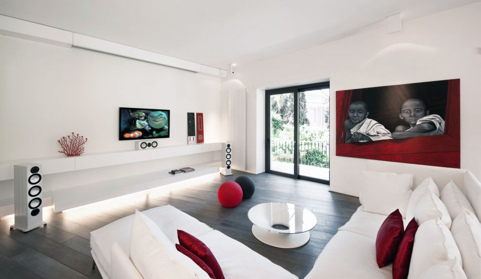 White Sofa Living Room with Red Pillow Design Ideas