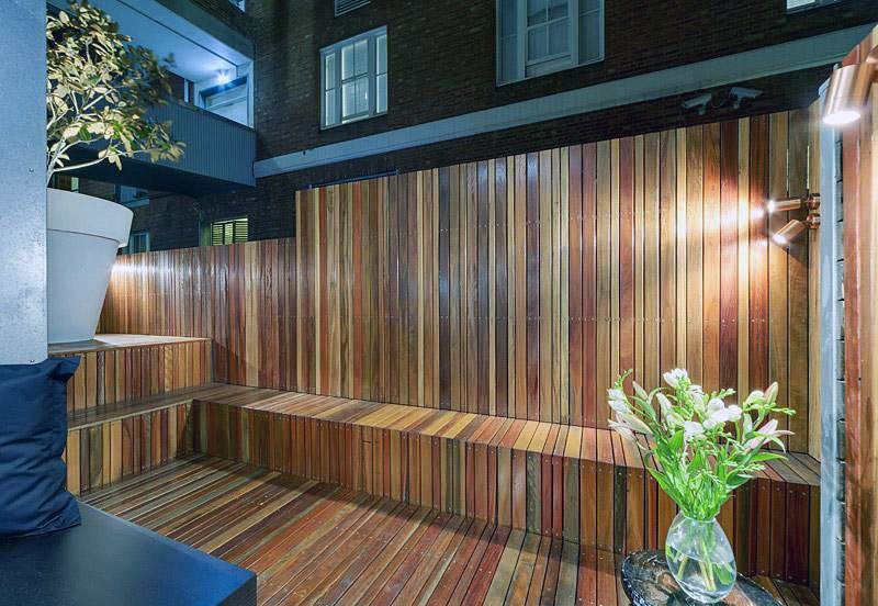 Wooden Lounge Deck Apartment with Green Plant