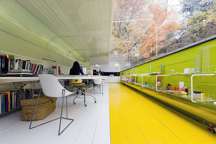 Yellow Green Alley Office Interior