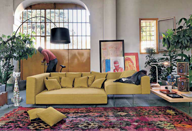 Yellow Modern Sofa with Black Floor Lamp