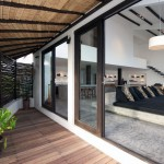 Amazing Sun Terrace with Sliding Door and Wooden Floor