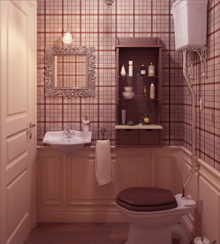 Awesome Cloakroom with Plaid Wallpaper Ideas