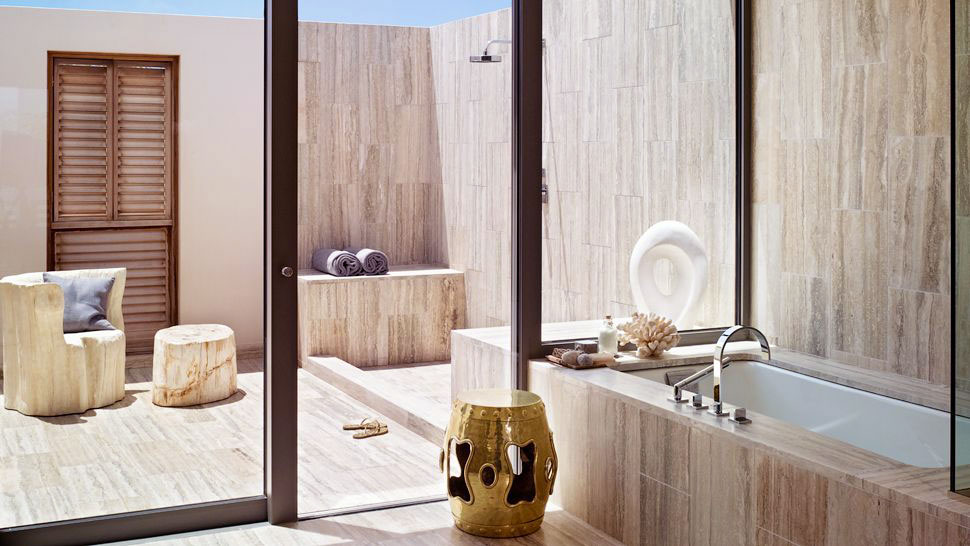 Bathroom with Tile Marble and Sliding Glass Door