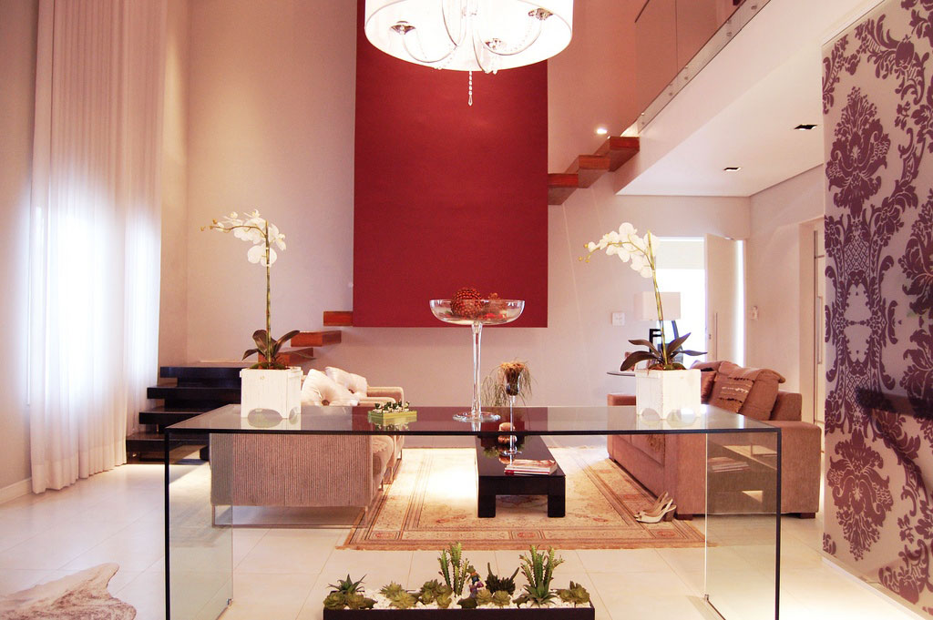 Beautiful Bright Living Room with Glass Console Table
