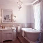 Beautiful White Classic Bathroom with Roll Top Bath