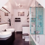 Black White Minimalist Bathroom with Glass Divider