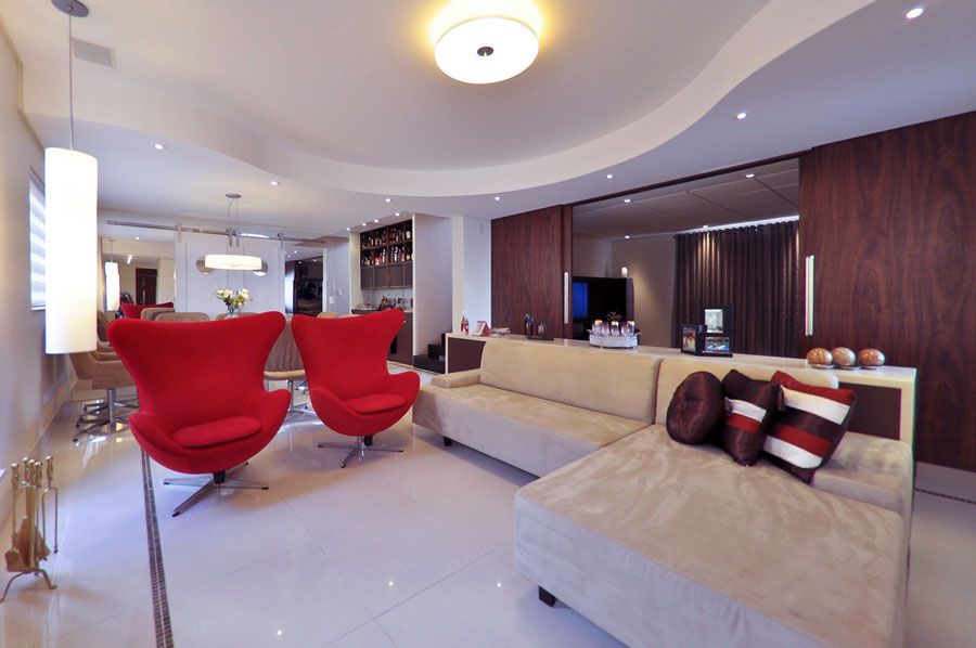 Bright Living Room with Modern Chairs With Red Color
