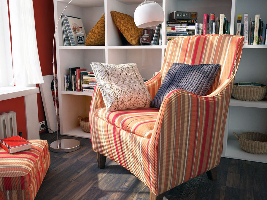 Bright Reading Room with Orange Red Striped Chair