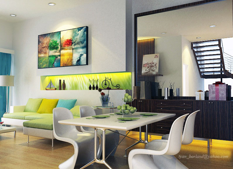 Bright color lime green white living dining room ideas for Dining room ideas white