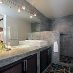 Concrete Vanity Unit Bathroom in Tropical Villa