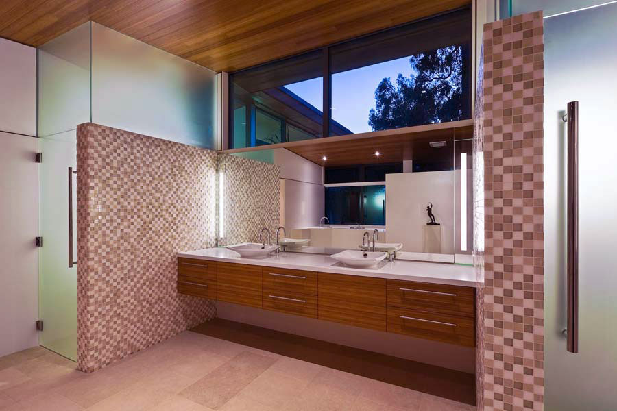 Contemporary Bathroom with Mosaic Tile Wall