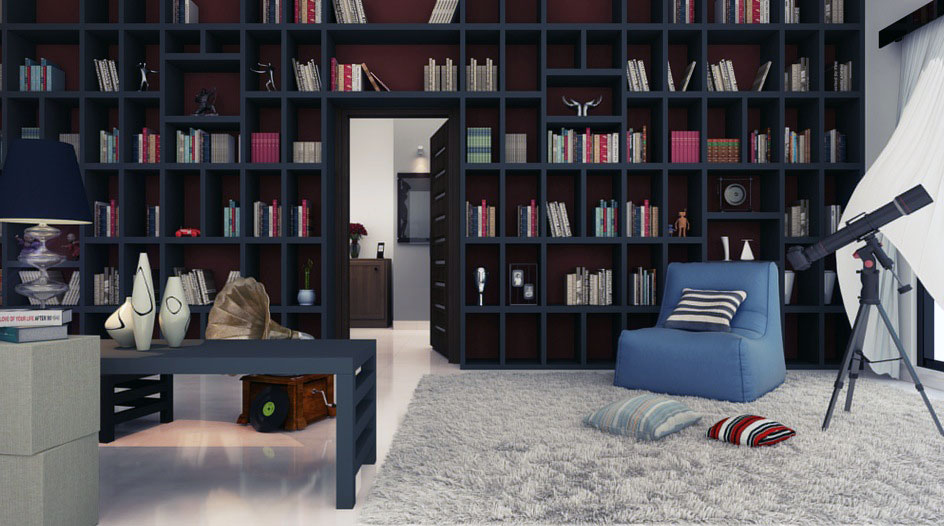 Cozy home library design with rug and telescope interior for Cozy reading room design ideas