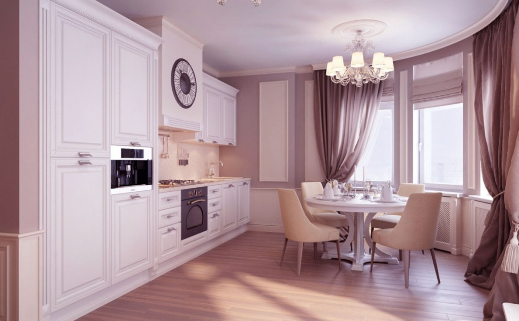 Kitchen and Dining Room in One Spaces with Luxury Chandelier