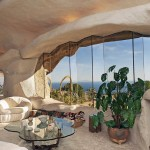 Large Glass Window Living Room Stone House