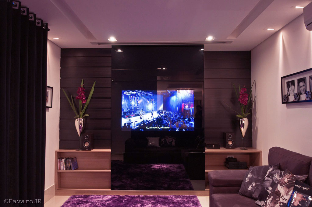 Living Room with Glass TV Wall and Purple Shaggy Rug