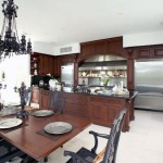 Luxury Dining Room with Black Crystal Chandelier