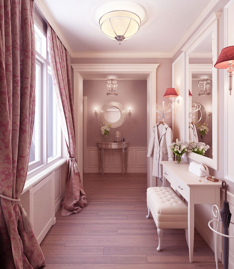Luxury Feminine Dressing Room With Wooden Floor Interior