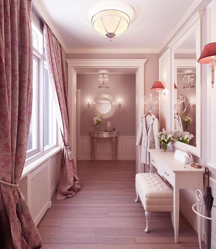 Luxury Feminine Dressing Room with Wooden Floor