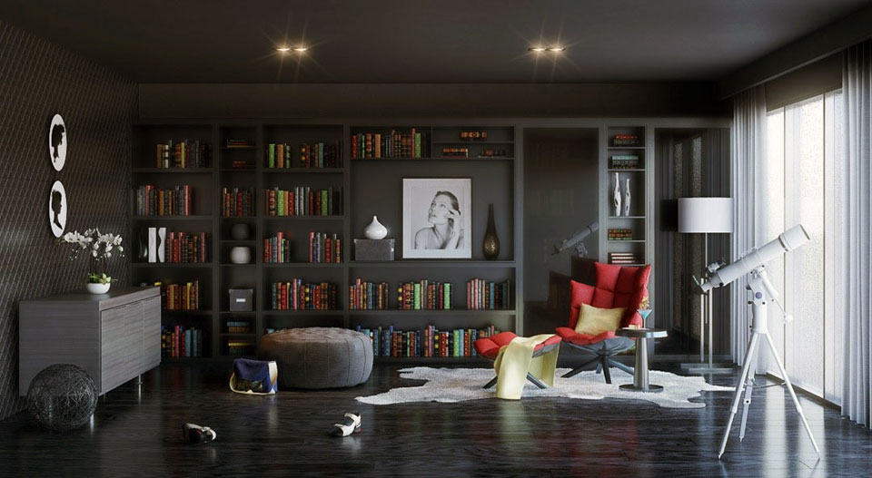 Luxury Home Library with Red leather Reading Chair