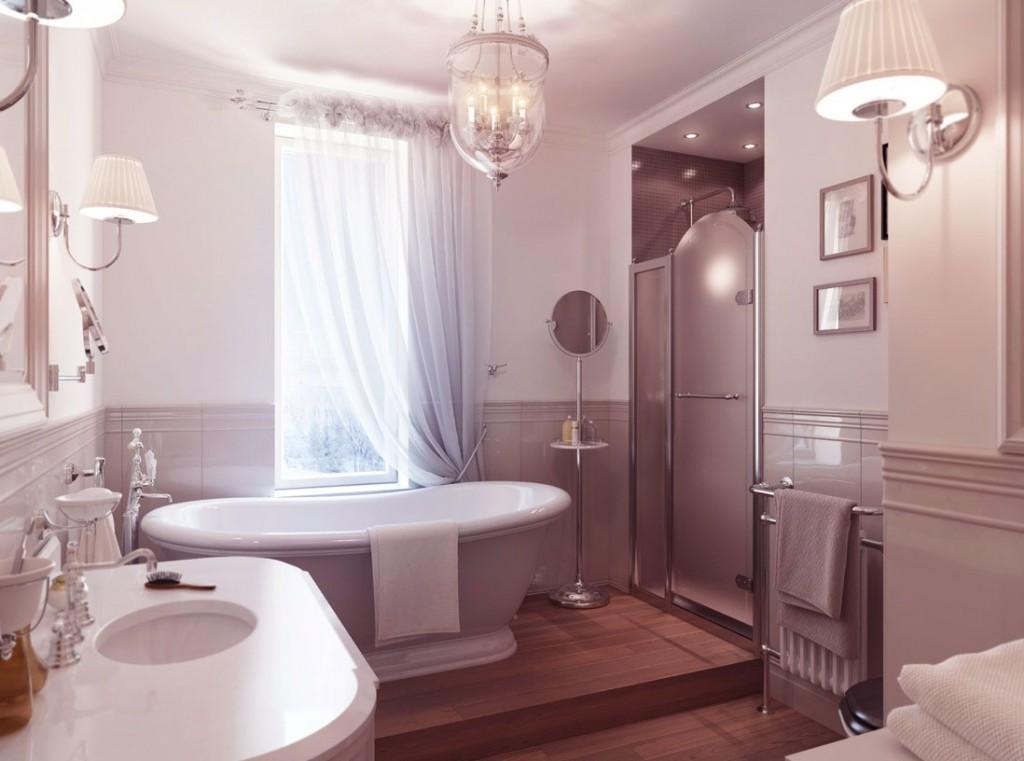 Luxury Traditional Bathroom with Wooden Floor