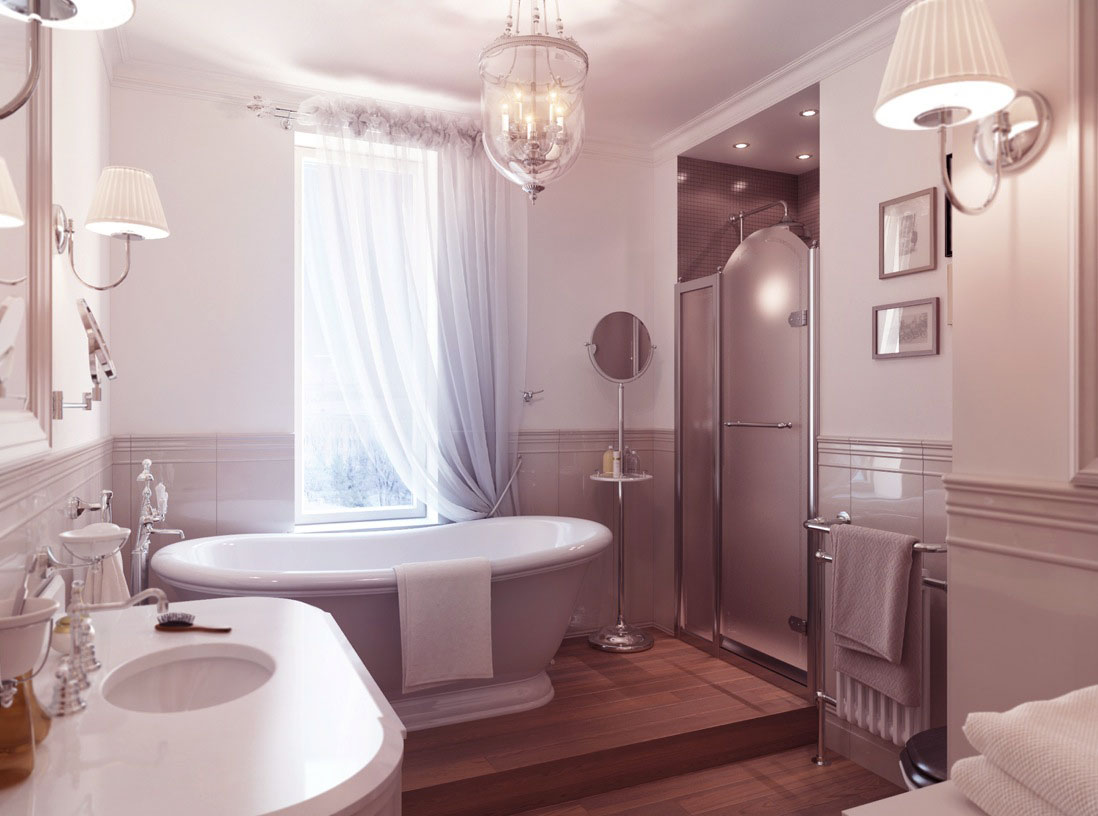 luxury traditional bathroom with wooden floor interior design ideas. Black Bedroom Furniture Sets. Home Design Ideas